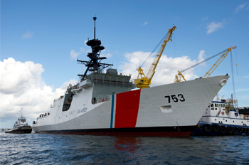 Coast Guard Cutter Hamilton, the fourth Legend-class National Security Cutter, was launched Aug. 10, 2013, at Ingalls Shipyard, Pascagoula, Miss. Huntington Ingalls Inc. Photo