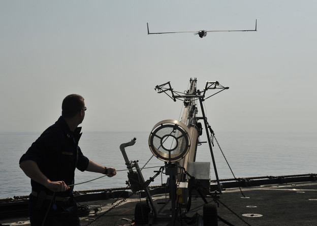 A Scan Eagle unmanned aerial vehicle is launched from USS Gunston Hall (LSD-44) in 2012. US Navy Photo