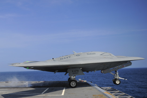 An X-47B Unmanned Combat Air System (UCAS) demonstrator launches from the aircraft carrier USS George H.W. Bush (CVN-77). US Navy Photo