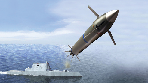 An artist's conception of the Long-Range Land Attack Projectile (LRLAP) fired from a Zumwalt-class destroyer (DDG-1000). BAE Systems Photo