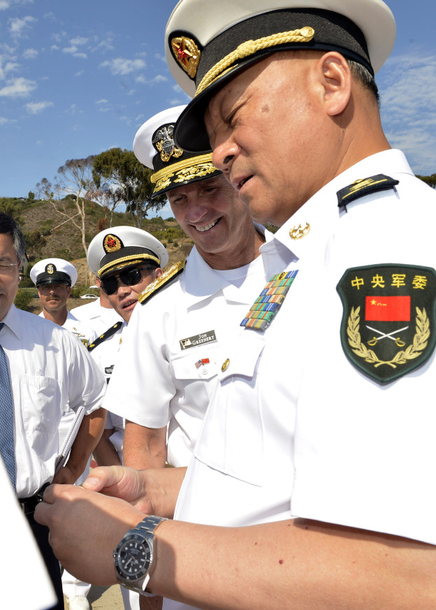 Chief of Naval Operations Adm. Jonathan Greenert hosts Commander in Chief of the People's Liberation Army Navy Adm. Wu Shengli during a counterpart visit on Sept. 9, 2013. US Navy Photo