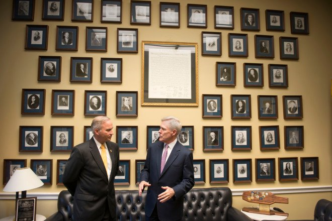 Secretary of the Navy Ray Mabus speaks with Randy Forbes in Forbes' office on June 13, 2013. US Navy Photos