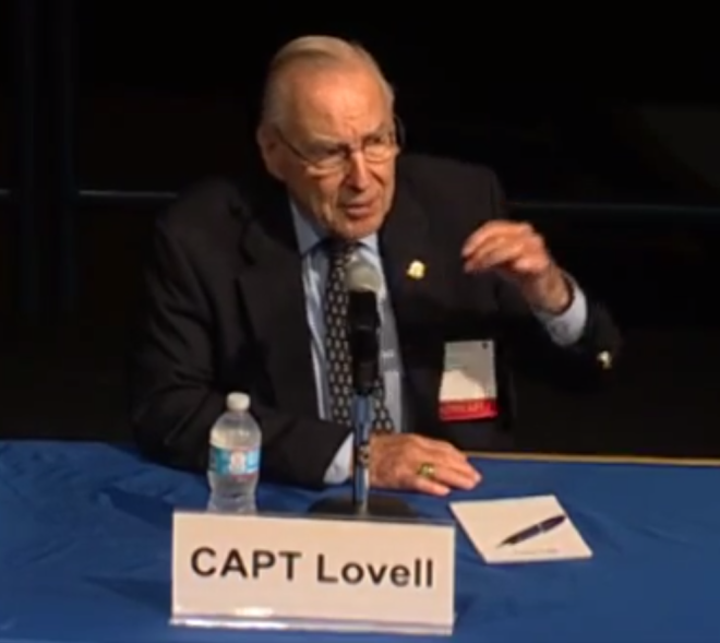 Capt. Jim Lovell, USN (Ret.) speaking at the Naval Academy on Thursday. US Naval Institute Photo