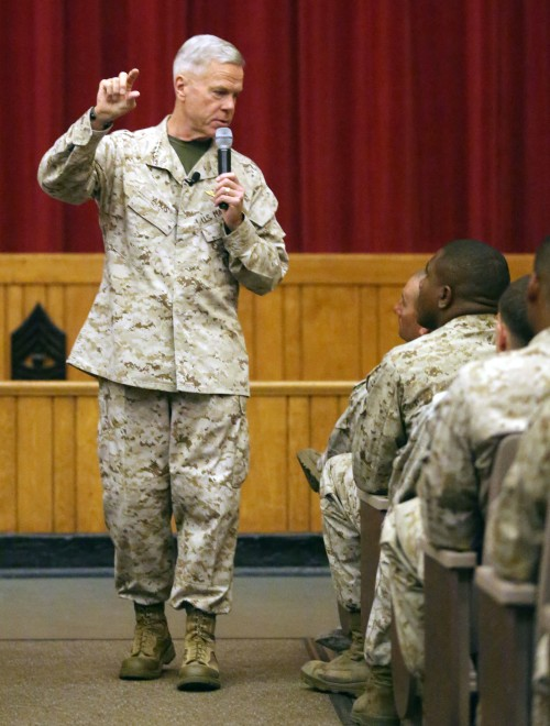 General James Amos, commandant of the Marine Corps, speaks with non-commissioned officers on Sept. 17, 2013. USMC Photo