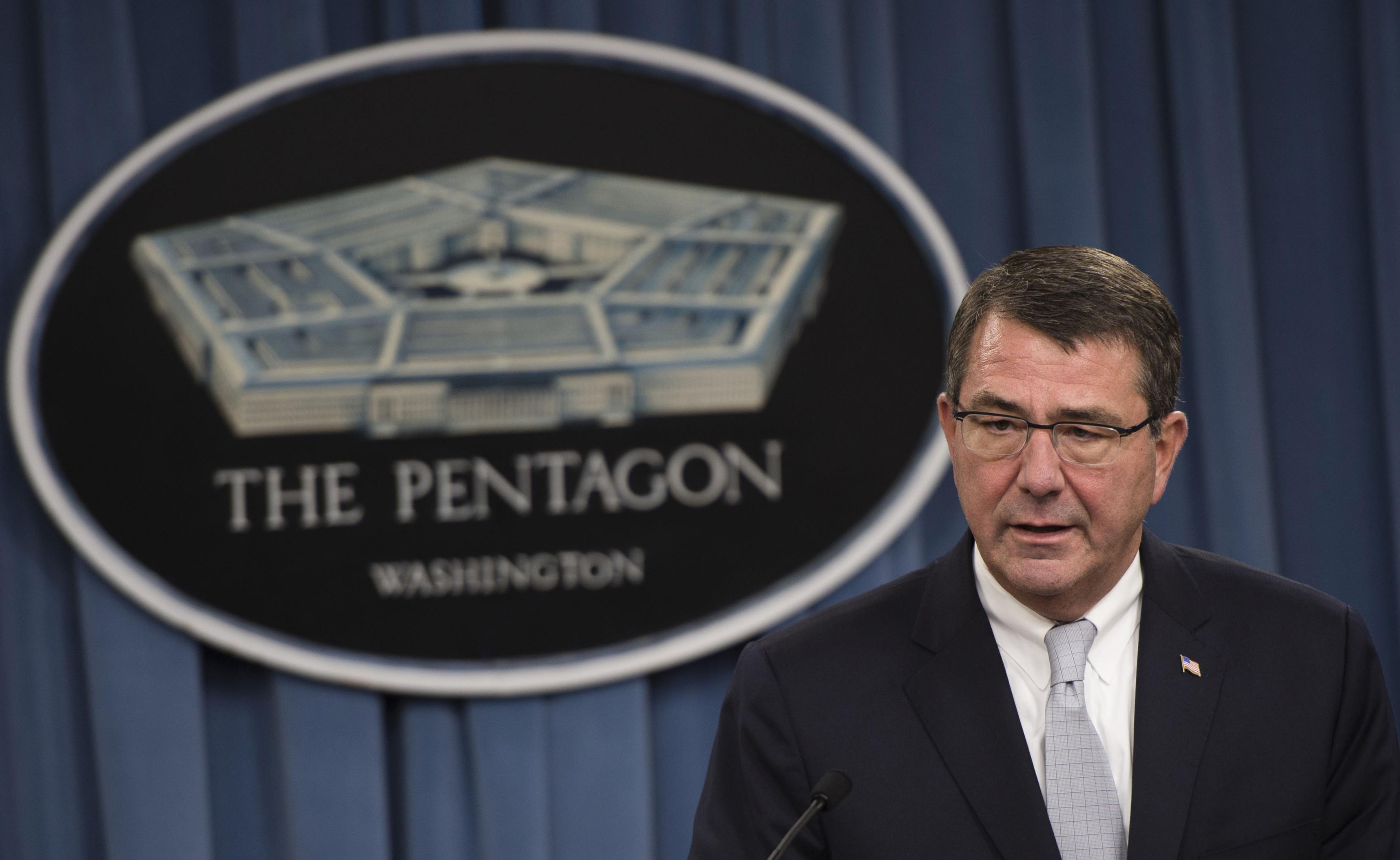 Then Deputy Secretary of Defense Ashton Carter briefs the press at the Pentagon in Arlington, Va., on Sept. 25, 2013. DoD Photo