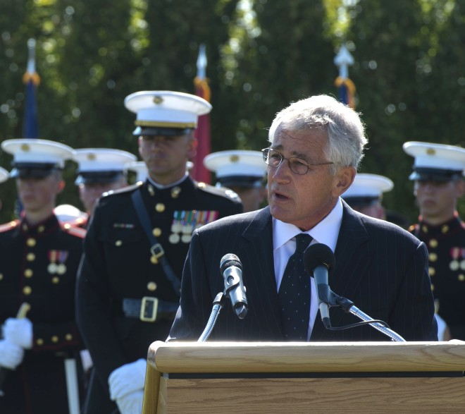 Secretary of Defense Chuck Hagel speaks during the Department of Defense National POW/MIA Recognition Day ceremony at the Pentagon in Arlington, Va., on Sept. 20, 2013. DoD Photo