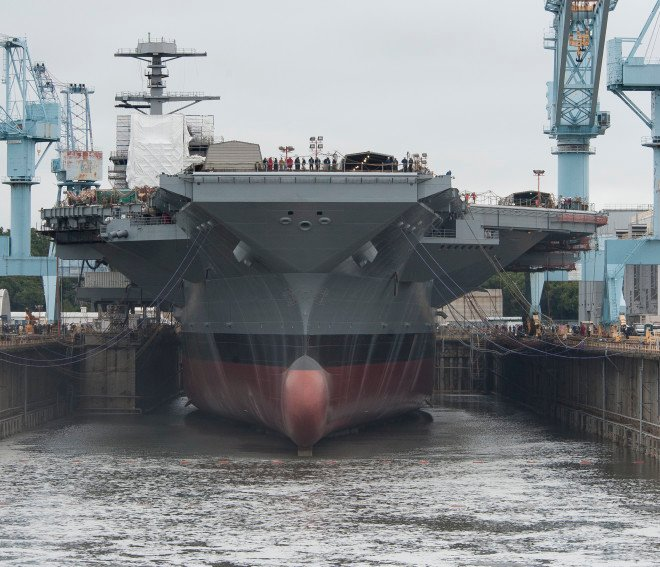 USS Gerald R. Ford, CVN 78, Dry Dock Flooding. Huntington Ingalls Industries Photo