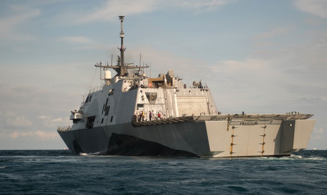 USS Freedom (LCS 1) is underway in the Straits of Singapore on Aug. 16, 2013. US Navy Photo