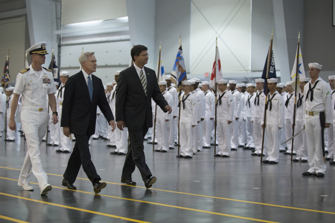 Secretary of the Navy Ray Mabus reviews sailors Recruit Training Command (RTC) on Sept. 13, 2013. US Navy Photo