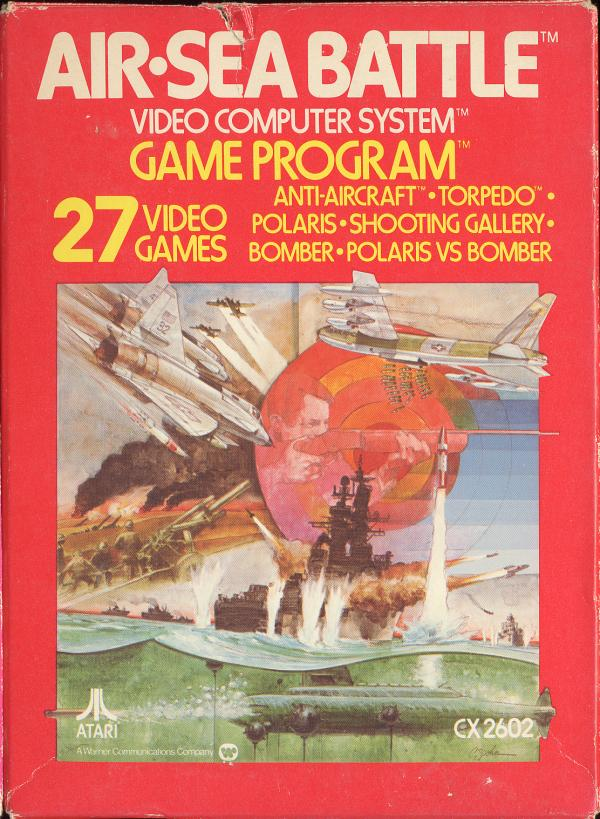 The 1977 cover art for the Atari 2600 game: Air Sea Battle
