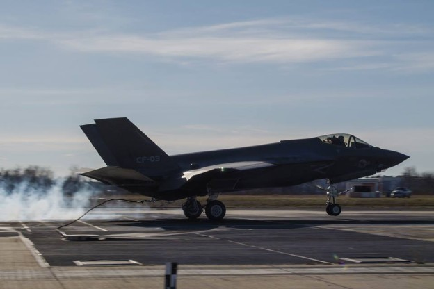 Navy F-35C test plane CF-3 successfully catches a wire during testing at Naval Air Station Patuxent River, Md. Lockheed Martin Photo