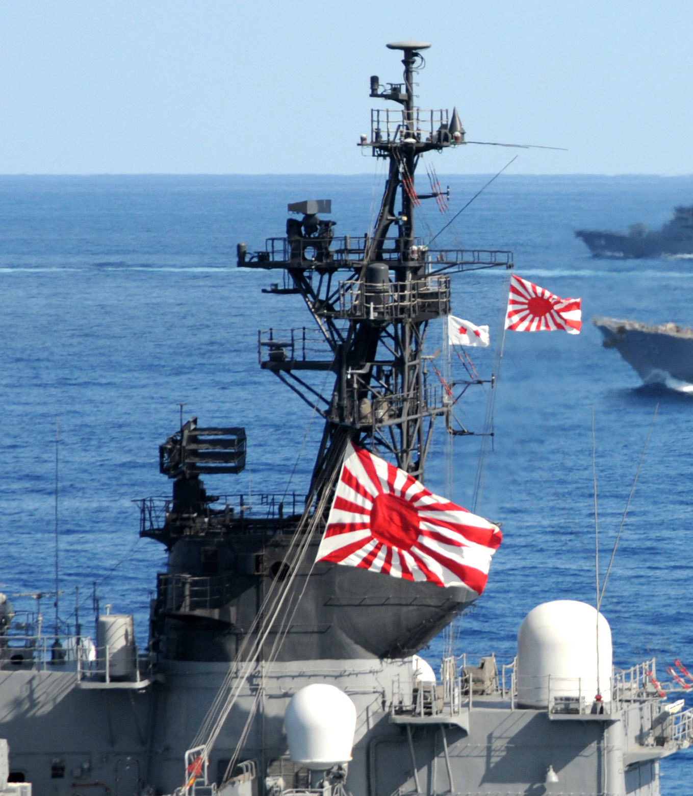 U.S. Navy and Japan Maritime Self-Defense Force (JMSDF) ships underway in formation as part of a photo exercise on the final day of Keen Sword 2011. US Navy Photo