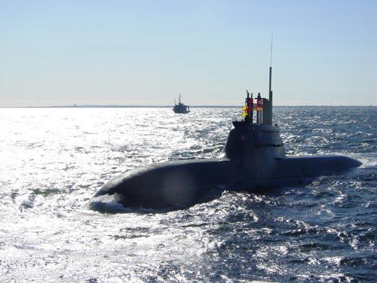 An undated photo of a German-built Type 212 diesel attack submarine.