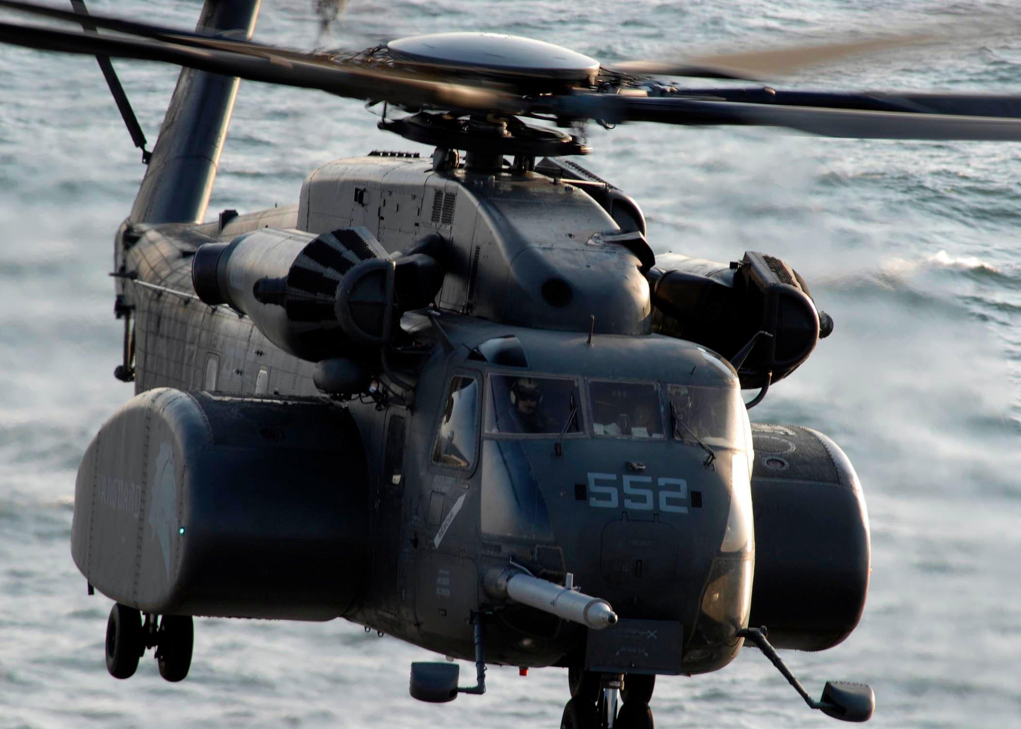 "MH-53E from Mine Countermeasure Squadron 14 ""Vanguard"" (HM-14) in 2006. US Navy Photo"