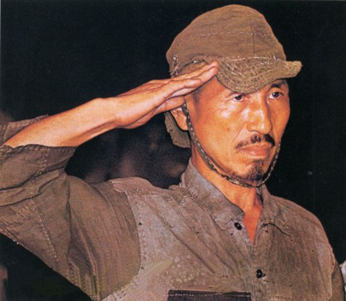 Hiroo Onoda shortly after he was discovered in 1974 after continuing to fight for almost 30 years after the end of World War II.