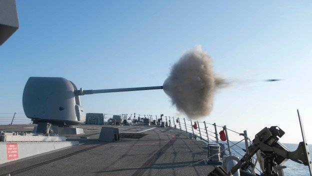 USS Stout (DDG-55) ires its MK45 5-inch gun during a live-fire exercise. US Navy Photo