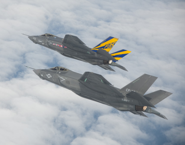 The Navy's first two test F-35C Lighting II Joint Strike Fighter in 2012.