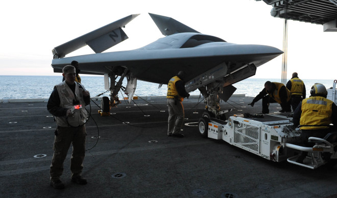 X-47B Unmanned Combat Air System Demonstrator (UCAS-D) on Nov. 9, 2013. US Navy