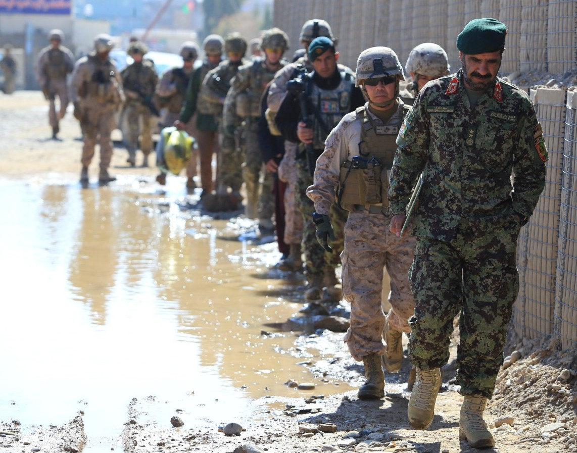 Afghan National Army (ANA) Maj. Gen. Sayed Malook and US Marine Brig. Gen. Daniel D. Yoo in Helmand on Feb. 10, 2014. US Marine Photo