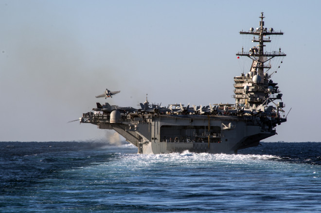 USS George H.W. Bush (CVN-77) during its final pre-deployment evaluations on Dec. 13, 2013. US Navy Photo