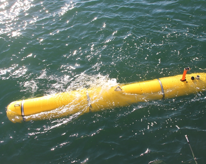 A Bluefin-21 autonomous underwater vehicle (AUV) in operation. The U.S. Navy is sending a similar AUV to aid in the search for the missing Malaysian Airliner. Bluefin Robotics Photo
