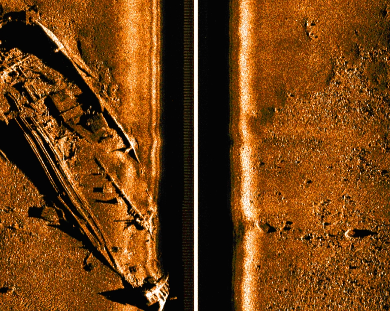 An image from a Bluefin-21 sonar search. Bluefin Robotics