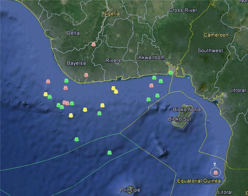Reported kidnappings in the Gulf of Guinea from 2012 to 2014. Yellow = 2012, Green = 2013, Red = 2014. Data from Delex Maritime Analysis Center and OCEANUS Live