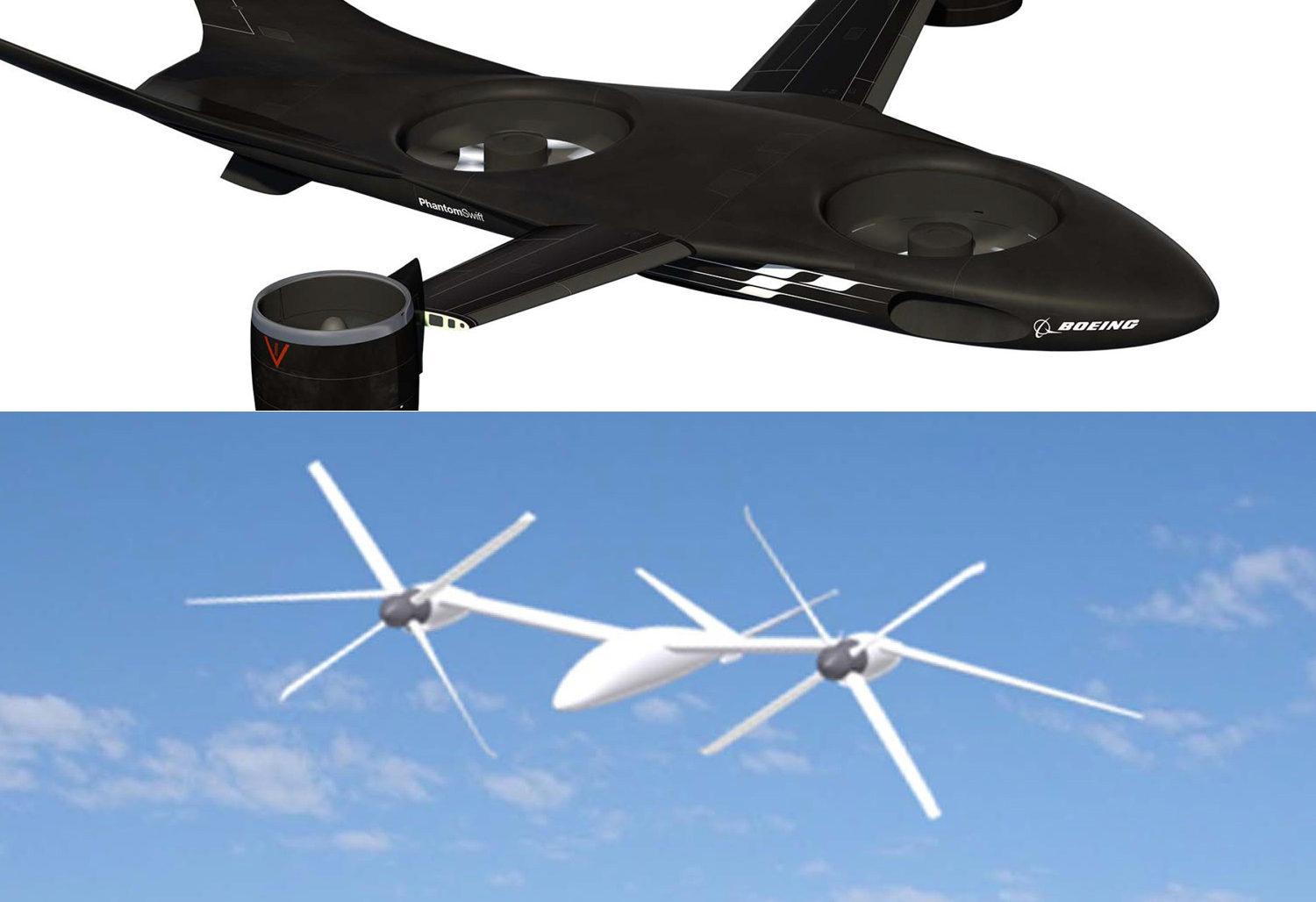 Boeing (top) and Karem Aircraft (bottom) offerings for DARPA's VTOL X-Plane. DARPA Photo