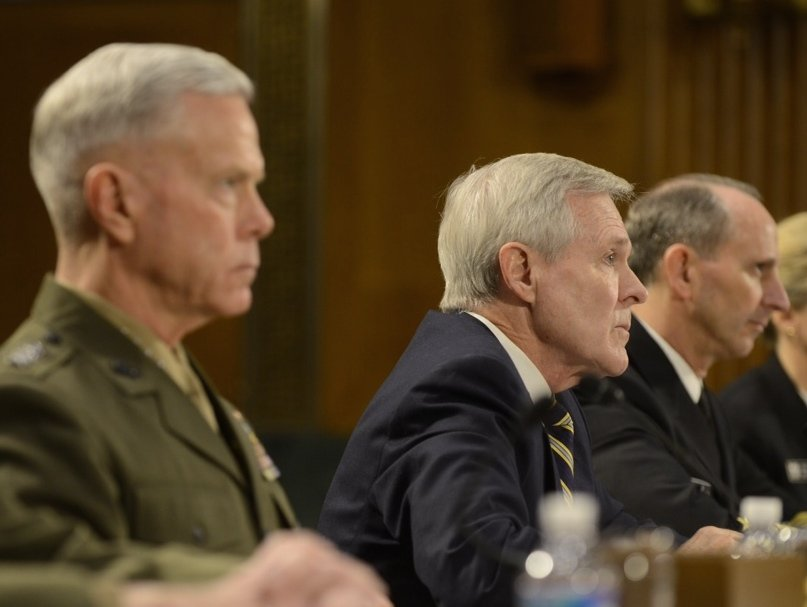 Secretary of the Navy RAy MAbus, Gen. James Amos and Adm. Jonathan Greenert before the Senate on March 12, 2014. US Navy Photo