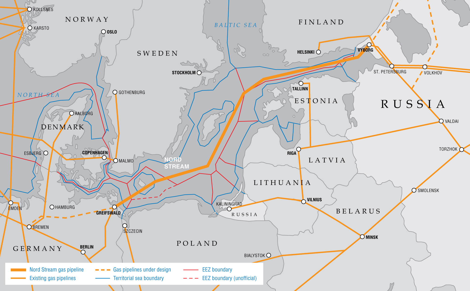 An image of the North (or Nord) Stream pipeline. Gazprom Image