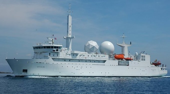 An undated photo of the French signals intelligence ship Dupuy de Lôme
