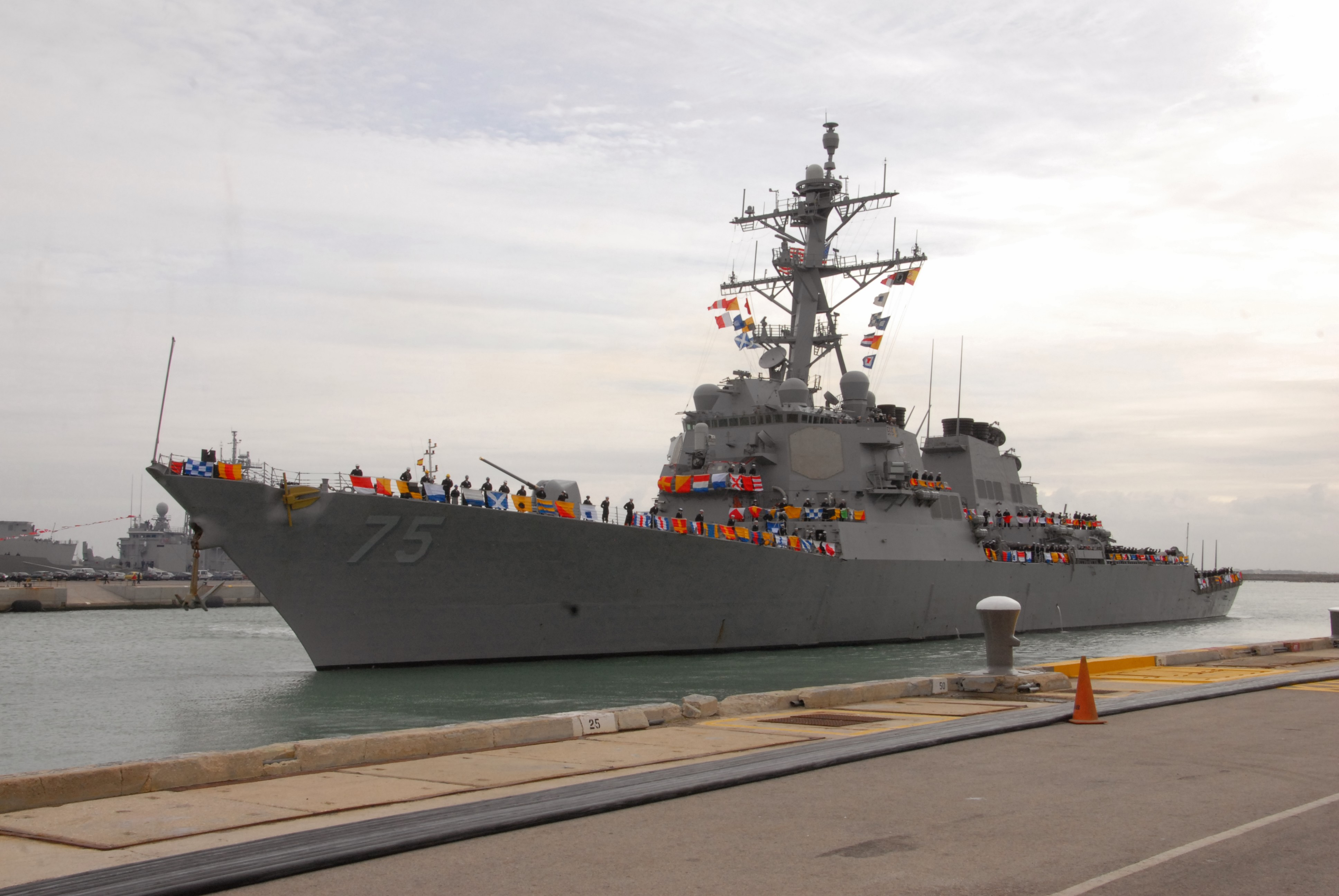 USS Donald Cook (DDG-75) arrives at Naval Station Rota, Spain on Feb. 11, 2014. US Navy Photo