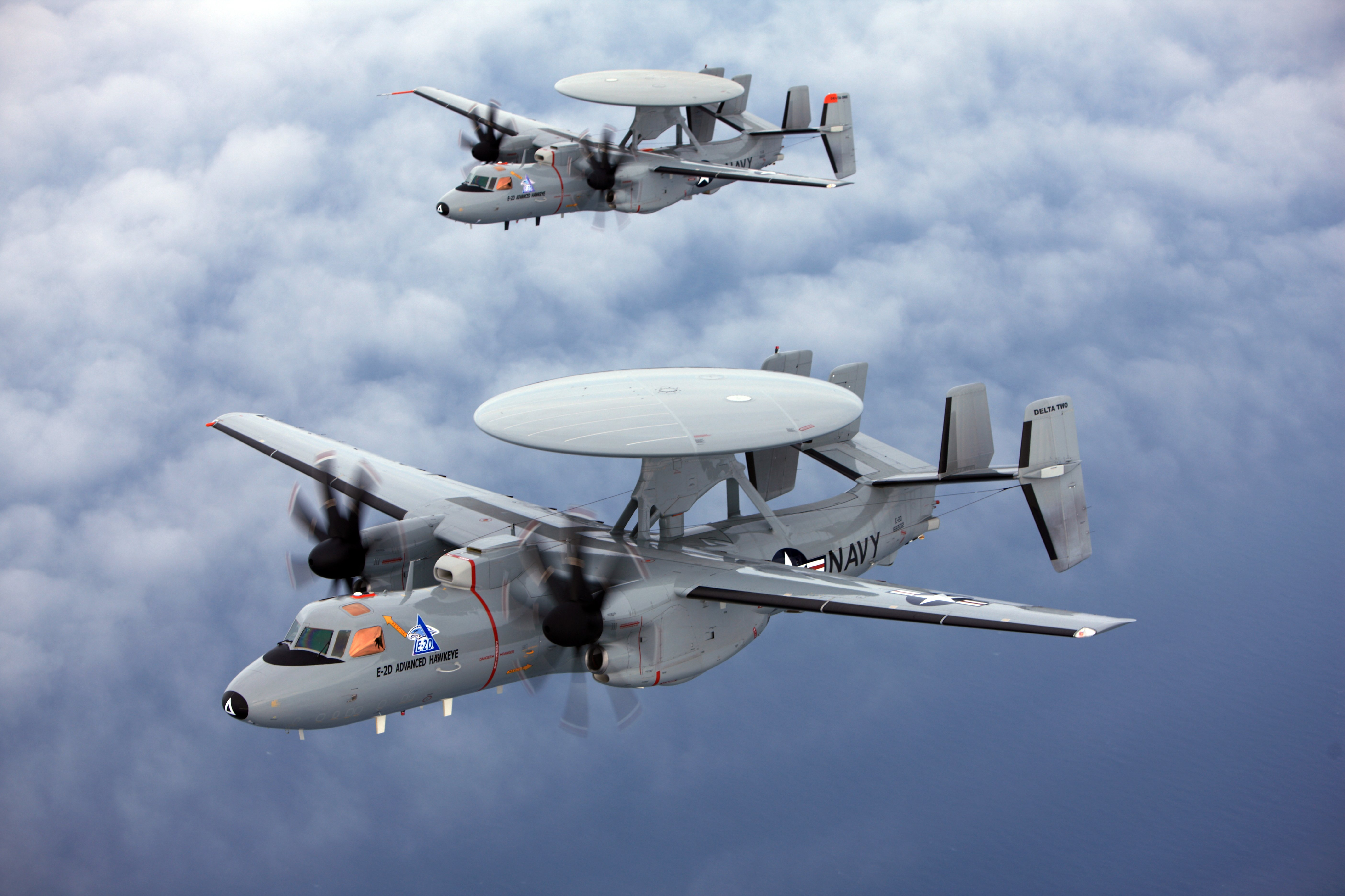 E-2D Advanced Hawkeye aircraft conduct a test flight in 2009. US Navy Photo