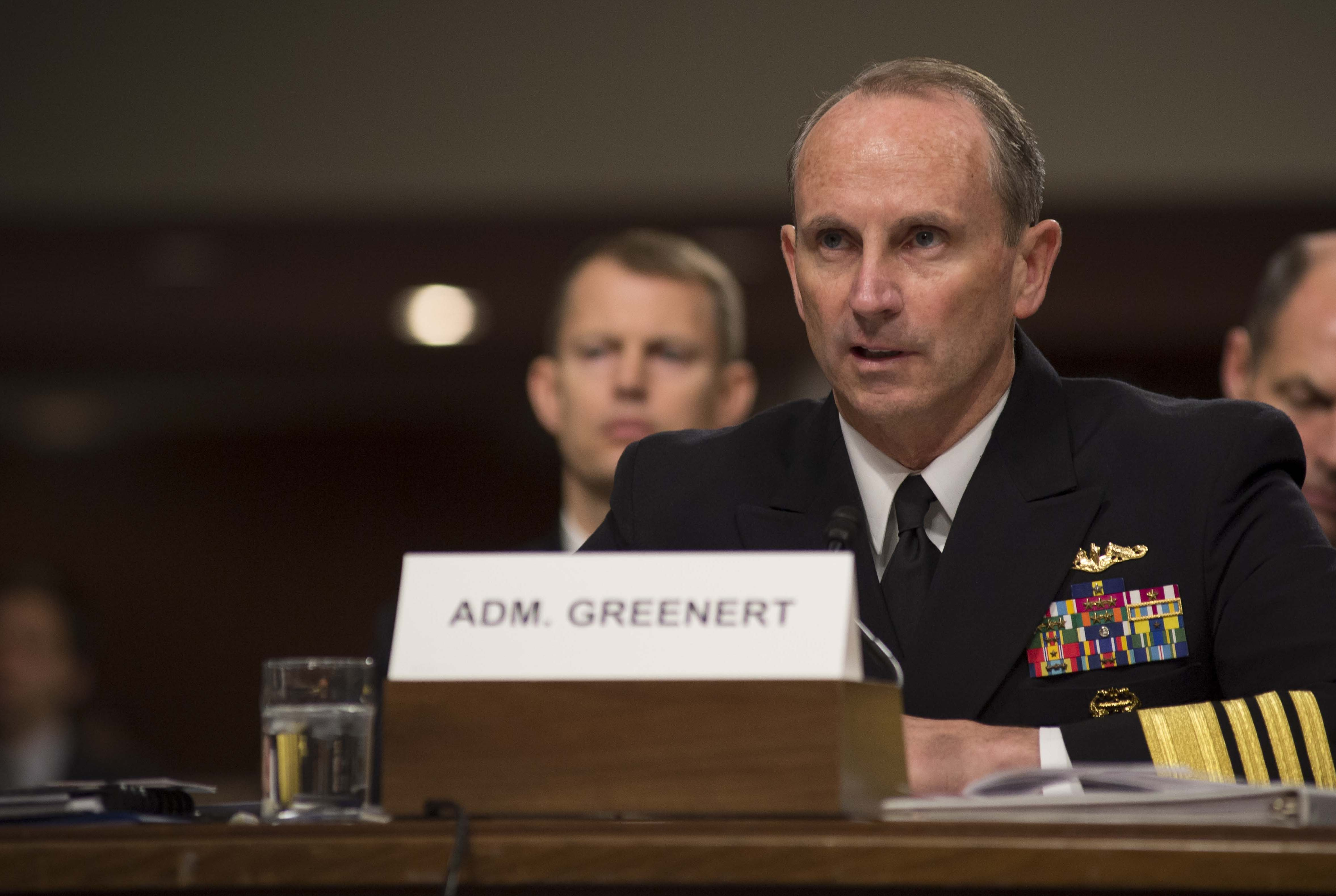 Chief of Naval Operations (CNO) Adm. Jonathan Greenert testifies during a posture hearing before the Senate Armed Services Committee on March, 27 2014. US Navy Photo