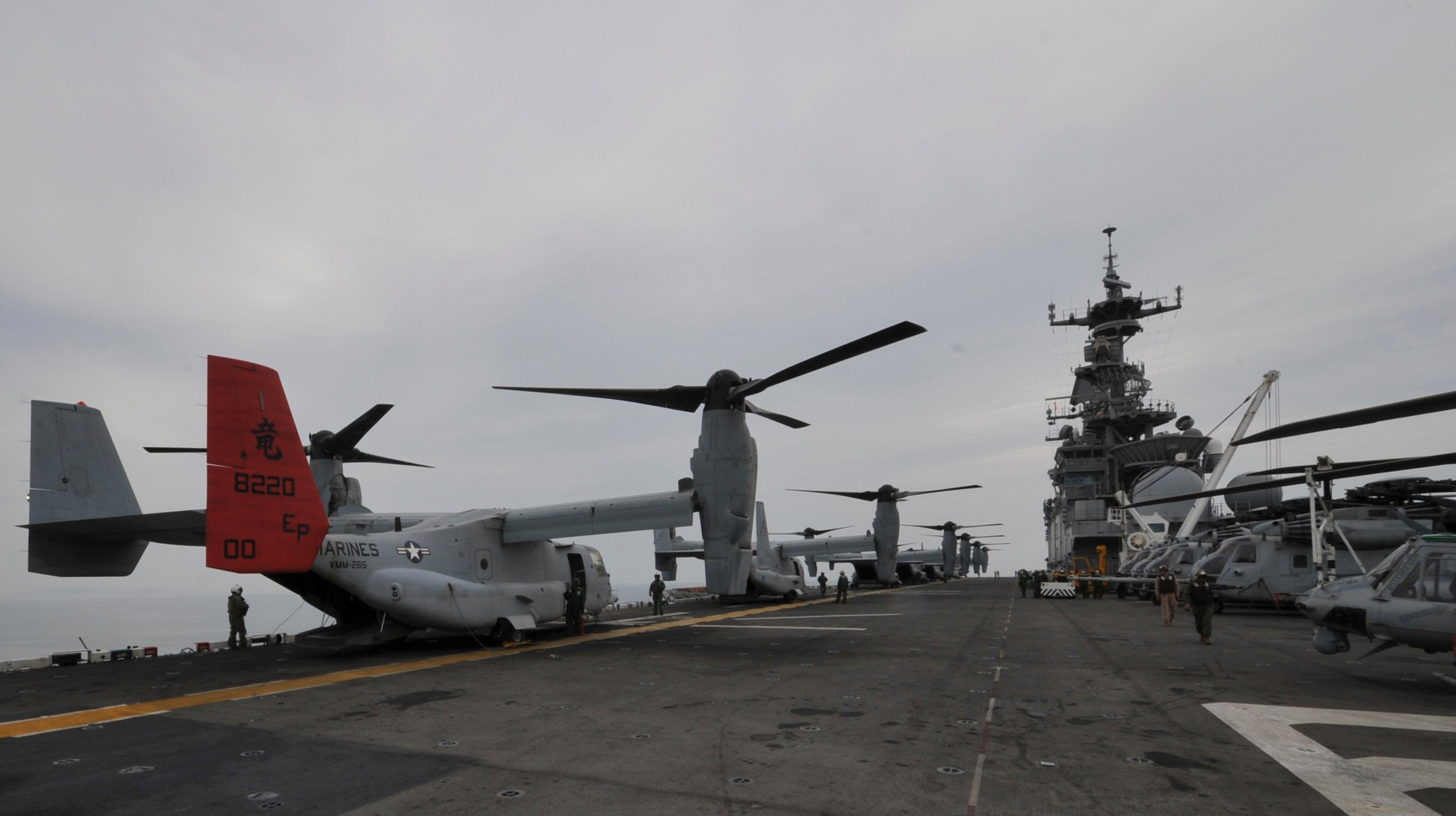 MV-22 on the deck of USS Bonhomme Richard (LHD-6) on April 16, 2014. US Navy Photo