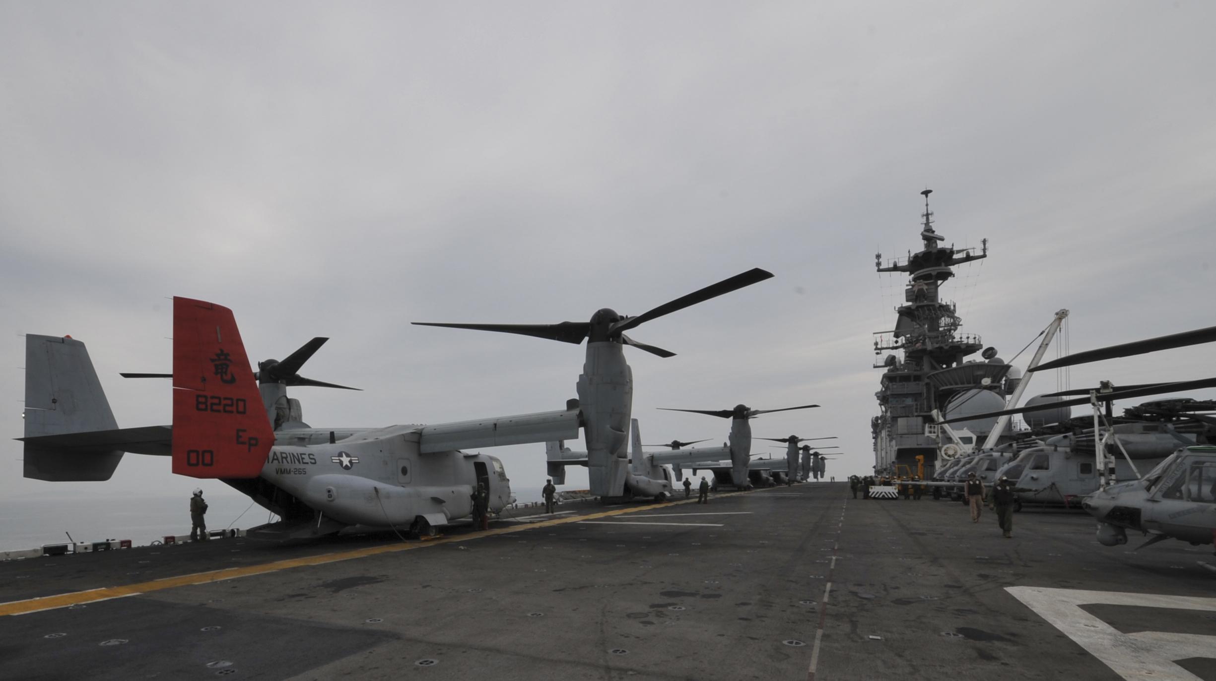 MV-22 on the deck of USS Bonhomme Richard (LHD-6) on April 16, 2014. US Navy Photo