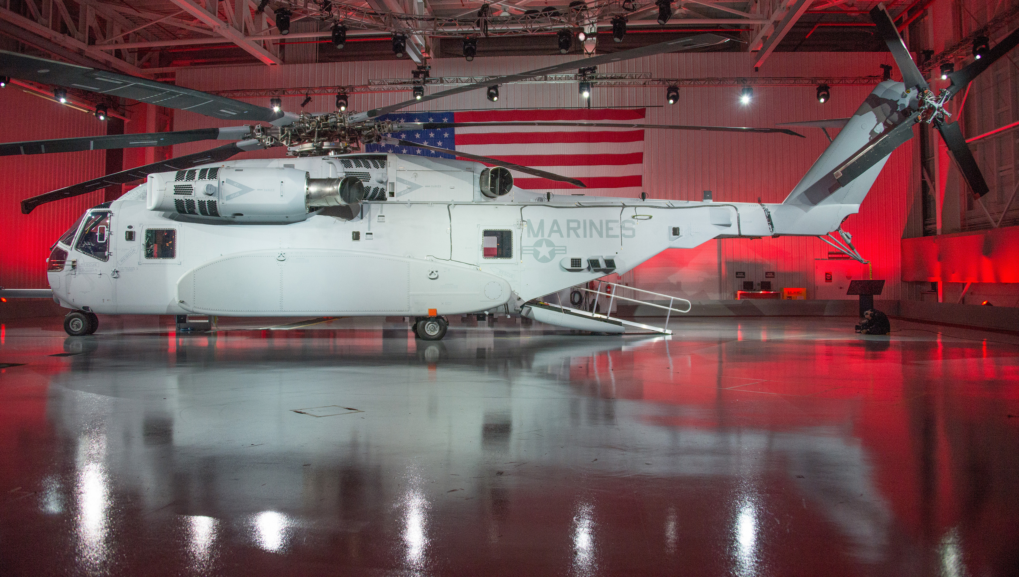 The first CH-53K King Stallion US Marine Corps heavy lift helicopter. Sikorsky Photo
