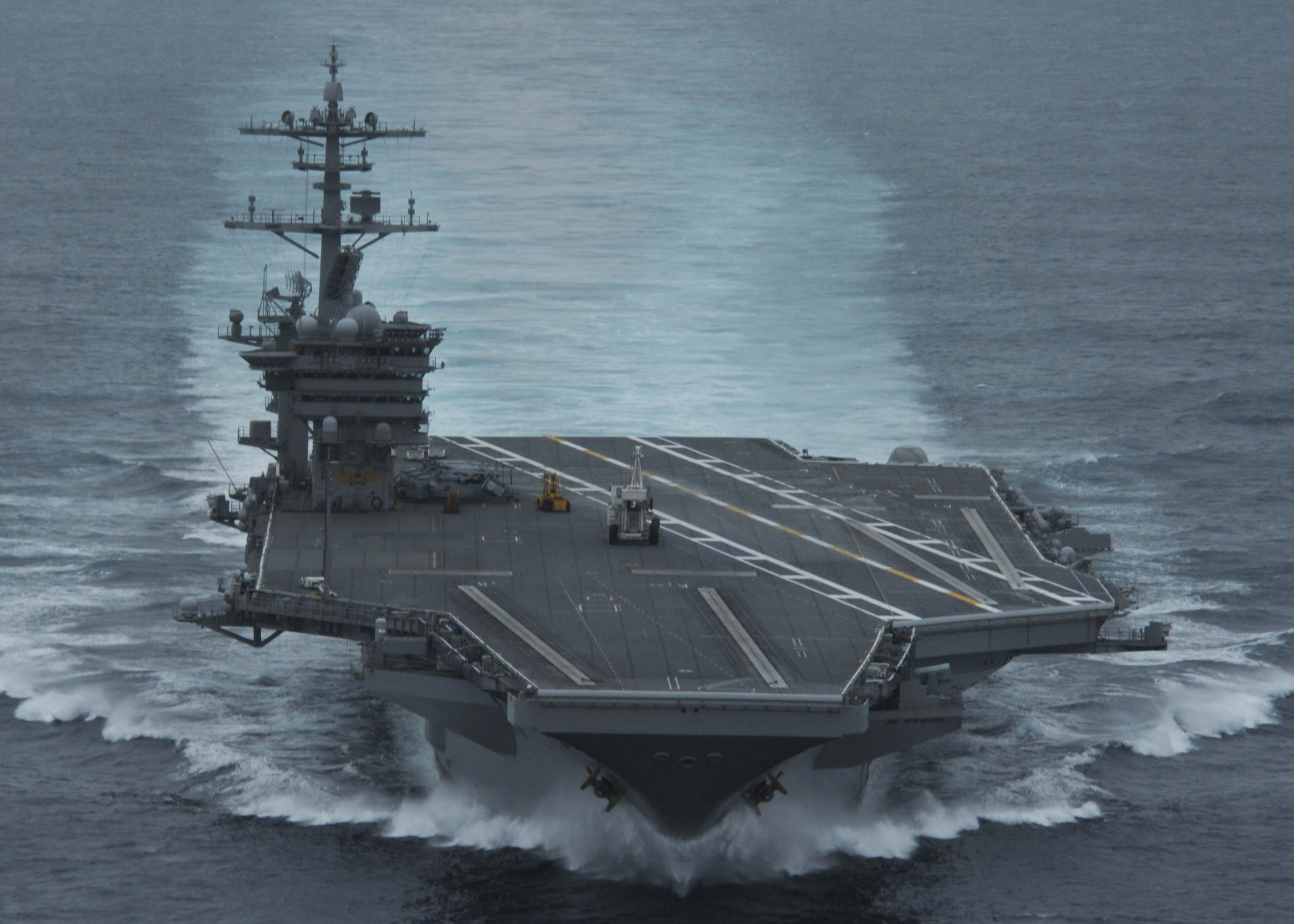 USS Theodore Roosevelt (CVN-71) conducts high speed runs on April 28, 2014. US Navy Photo