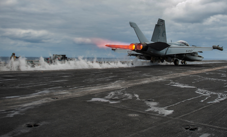 An EA-18G Growler launches from USS Harry S. Truman (CVN-75). US Navy Photo