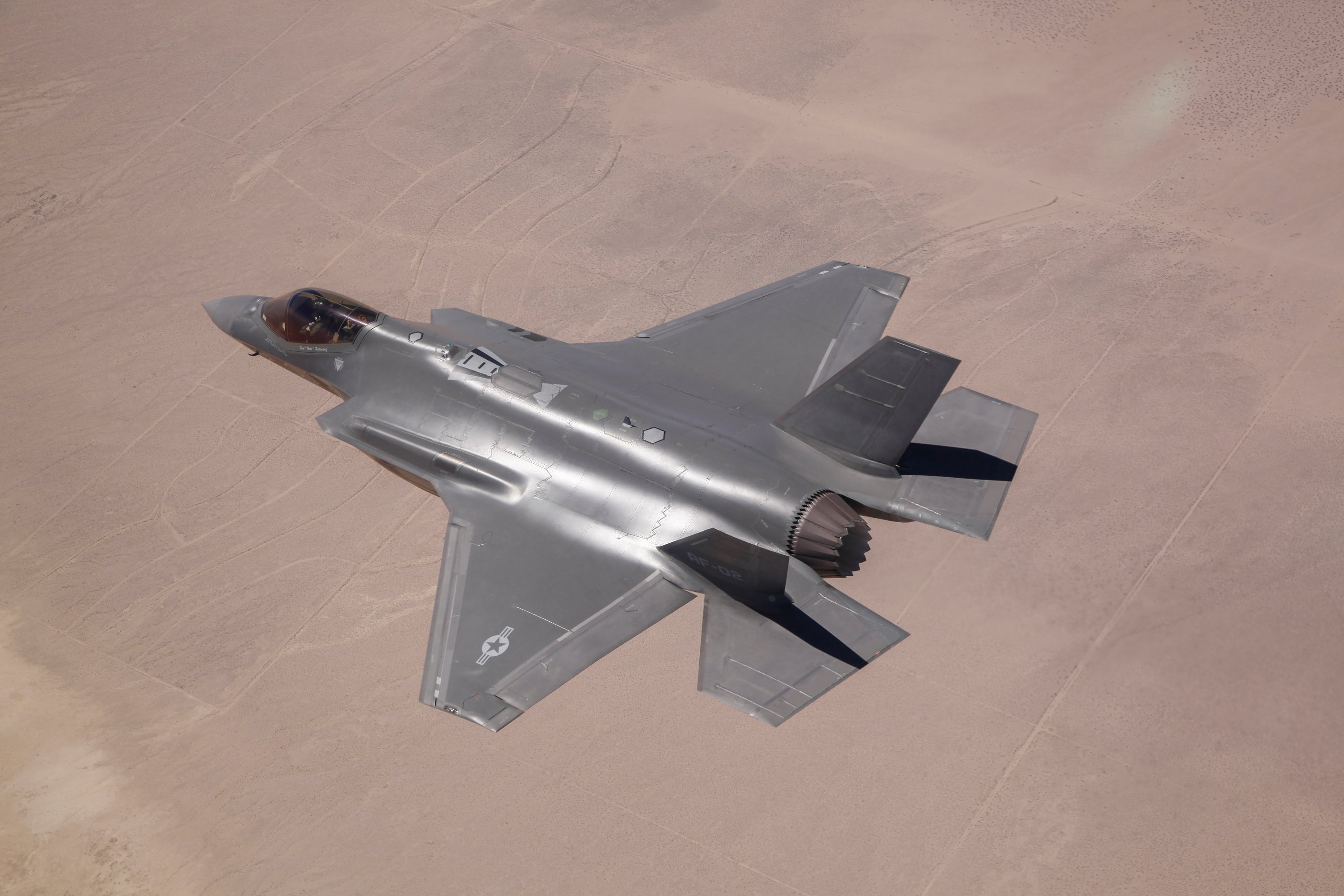 Lockheed Martin test pilot, flies AF-2, the second production F-35 Lightning II for the Air Force, during an airframe loads envelope expansion mission June 11, 2014, over Edwards Air Force Base, Calif. US Air Force Photo