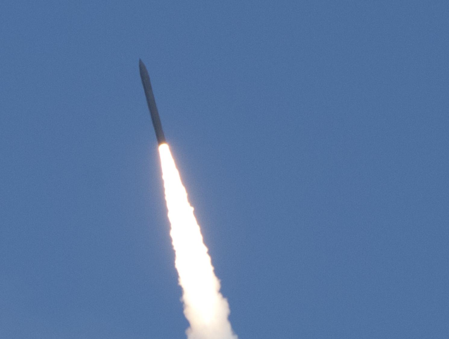 Missile Defense Agency's Flight Test 06b Ground-Based Interceptor launches from Vandenberg Air Force Base, Calif. on June 22, 2014. MDA Photo