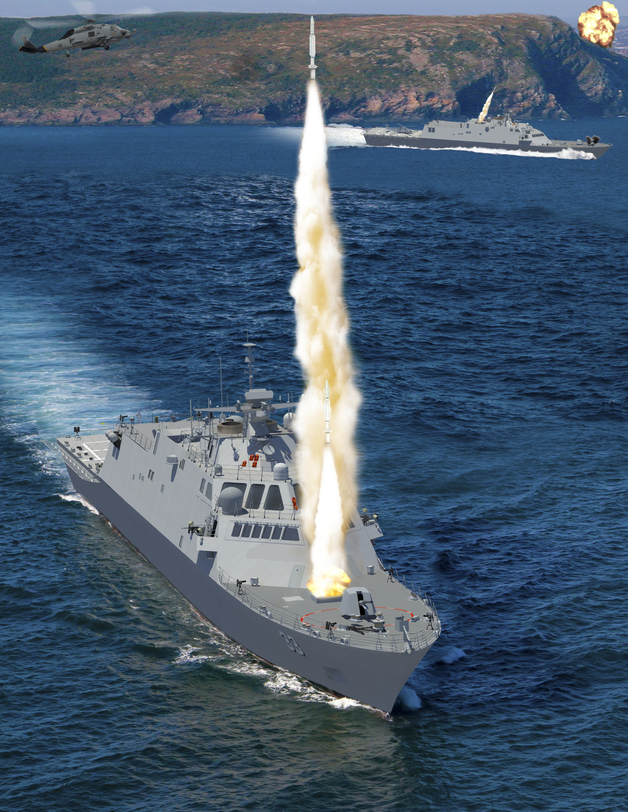 An artist's conception for two variants of the Freedom-class LCS design provided to USNI News. Lockheed Martin Image