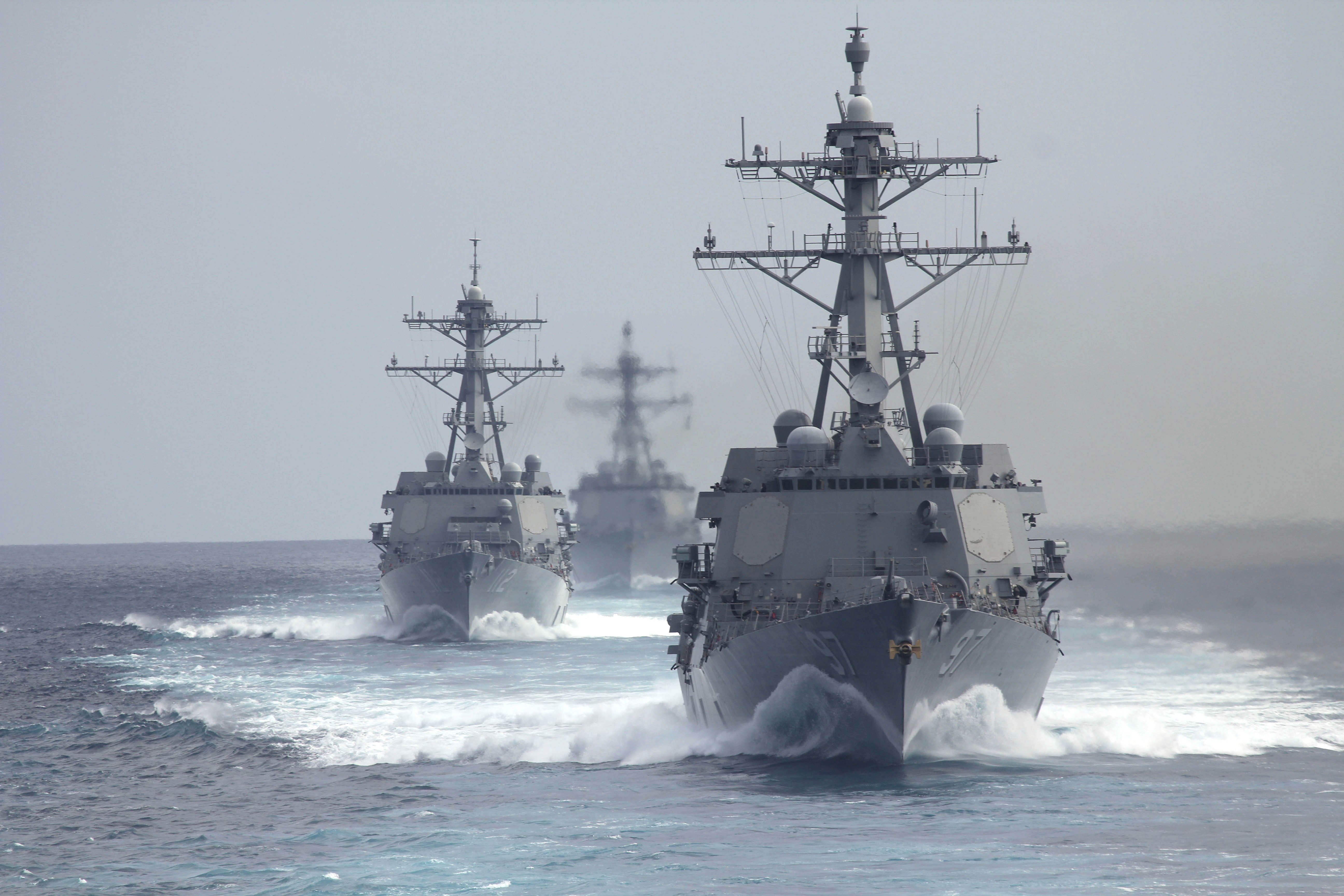 USS Halsey (DDG-97), USS Michael Murphy (DDG-112) and USS Gridley (DDG-101) underway on May, 23 2014. US Navy Photo