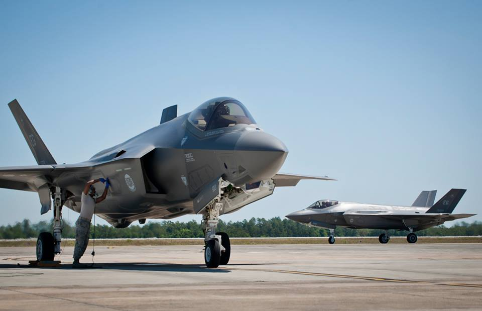 F-35A Lightning II while another Air Force joint strike fighter waits to be refueled at Eglin Air Force Base, Fla. US Air Force Photo