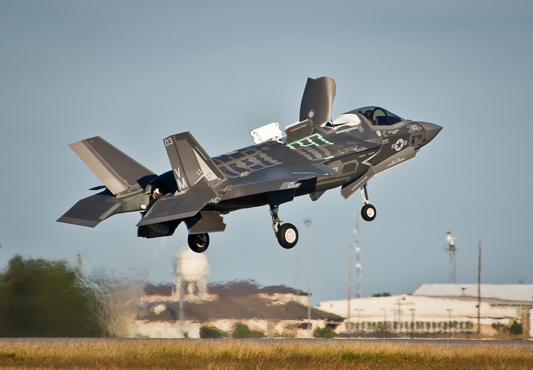 A Marine F-35B joint strike fighter lifts off from the runway during the first short take-off and vertical landing mission at Eglin Air Force Base, Fla. on Oct. 25 2013. US Marine Corps Photo