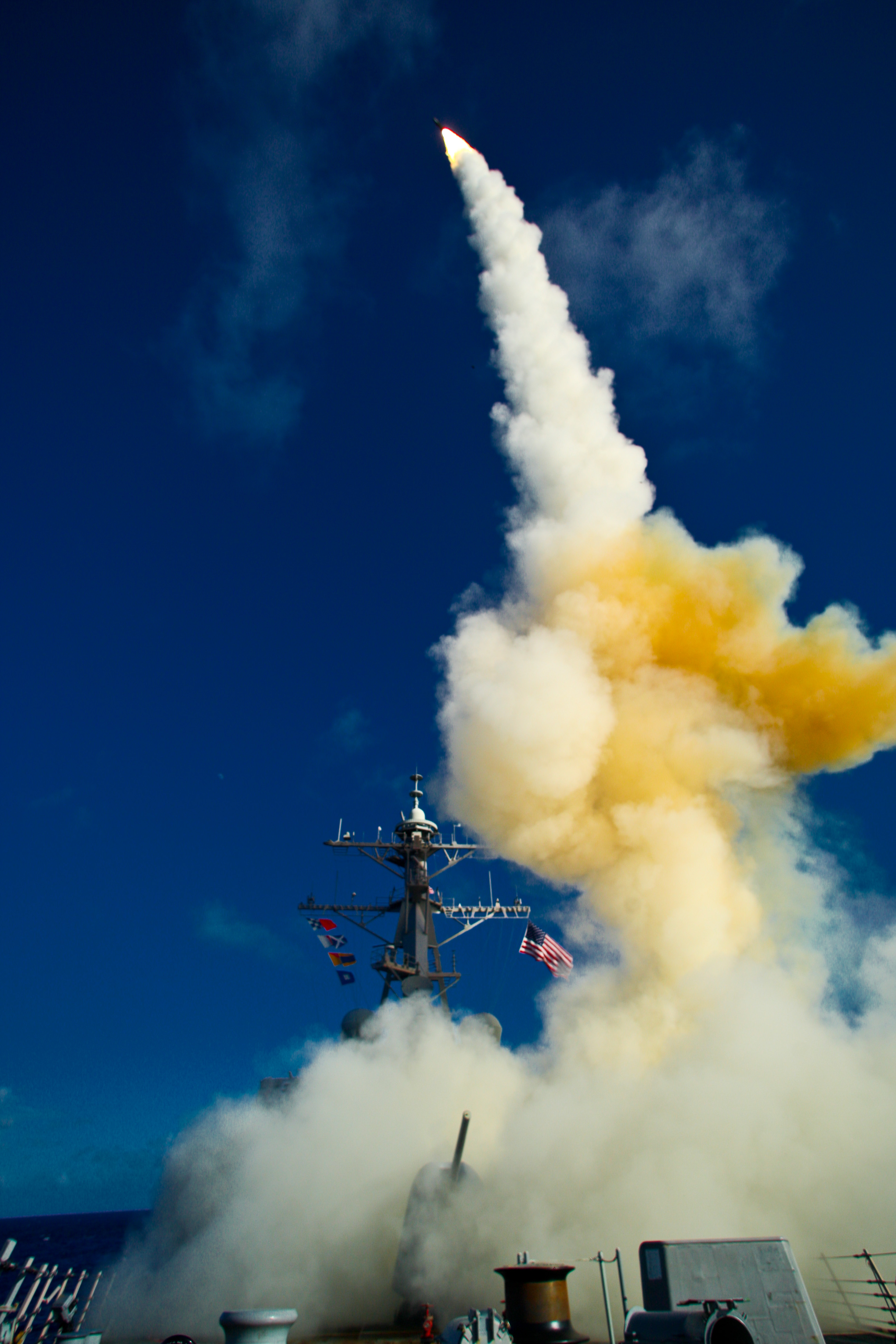 USS Hopper (DDG 70) launches a standard missile (SM) 3 Blk IA in 2009. US Navy Photo