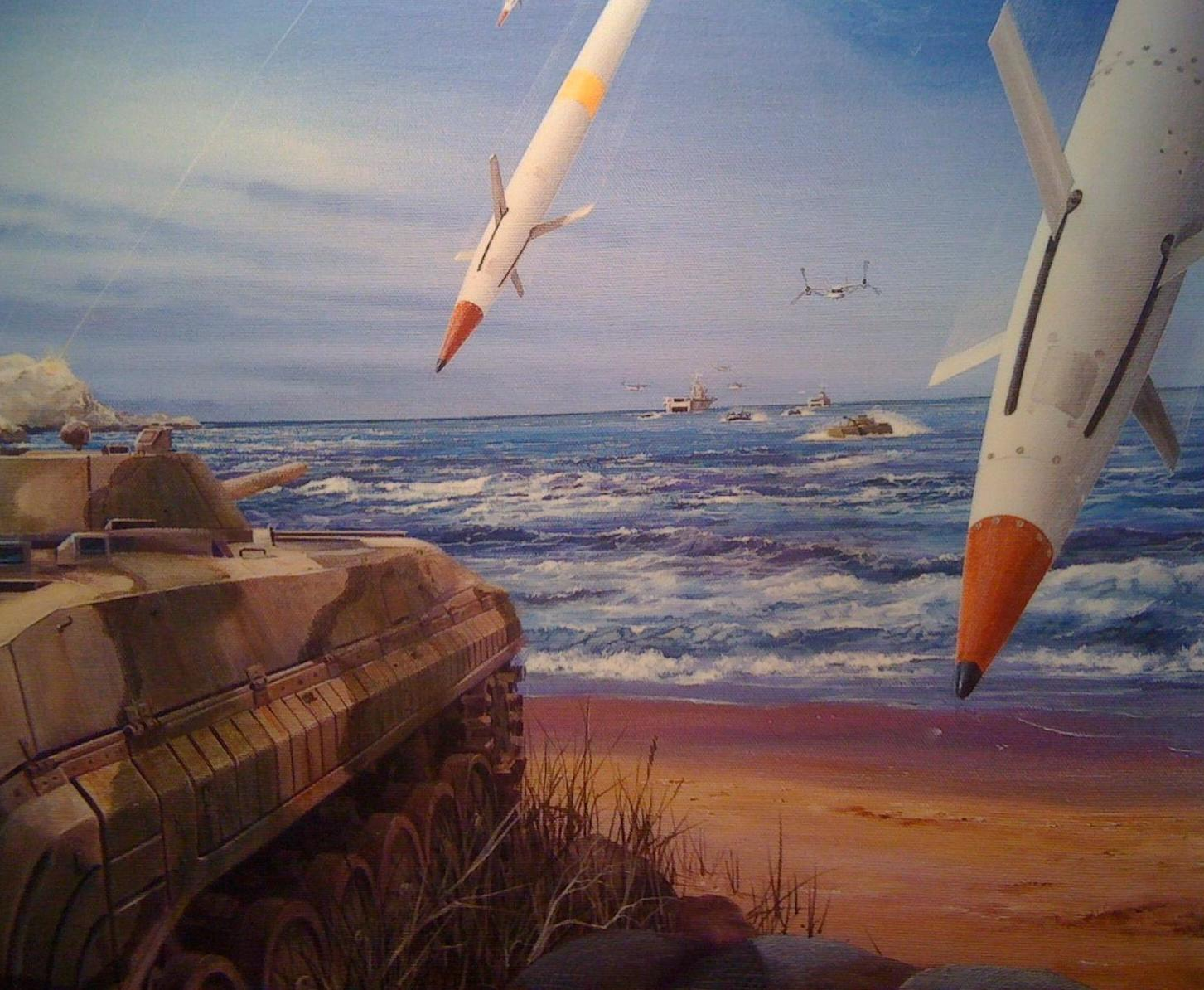 A promotional oil painting of a BAE Systems Long-Range Land Attack Projectile. US Naval Institute Photo
