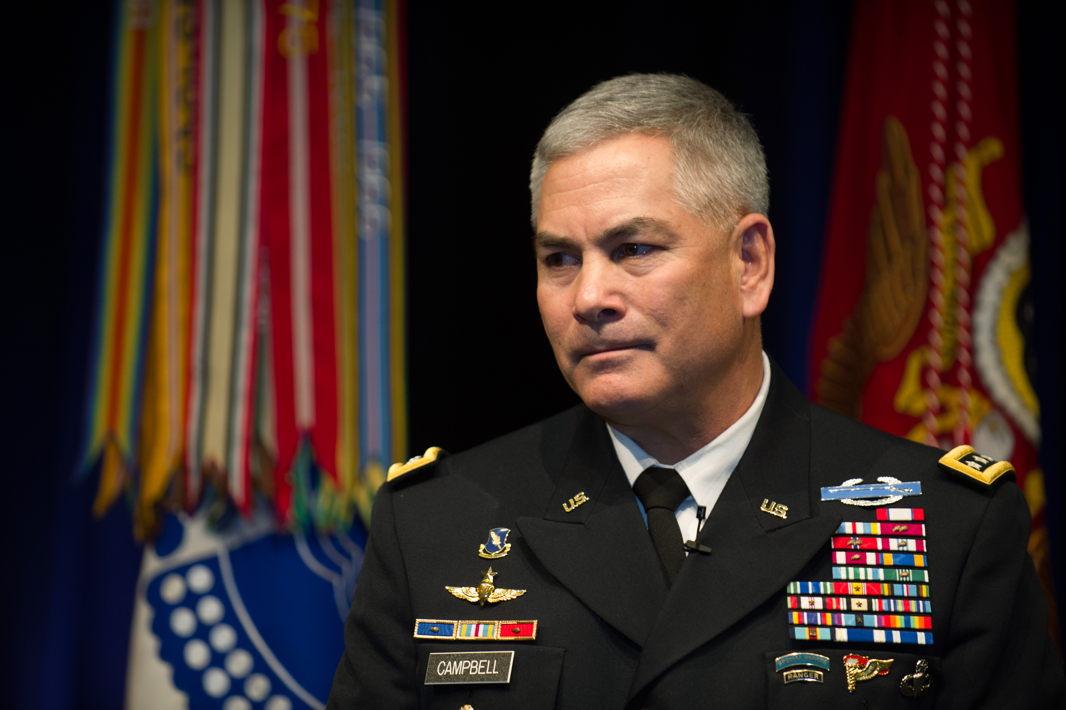U.S. Army Gen. John Campbell assumes duties as the 34th Army Vice Chief of Staff during a ceremony at the Pentagon Auditorium Mar. 8, 2013. US Army Photo