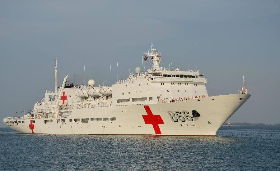 Chinese hospital ship Peace Ark. Xinhua Photo