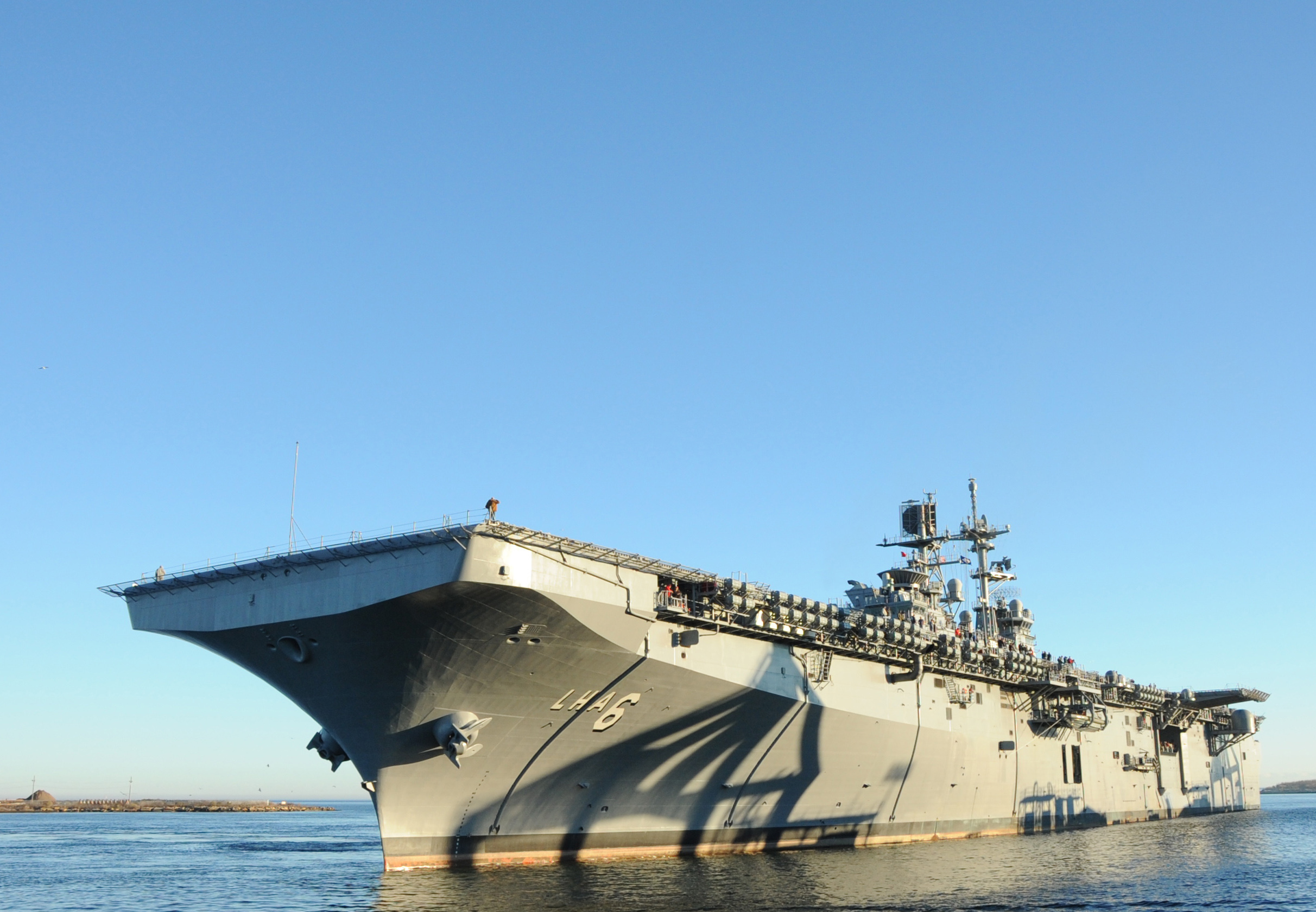 America (LHA-6) returns to Ingalls Shipyard from acceptance trials on Jan. 31, 2014. US Navy Photo